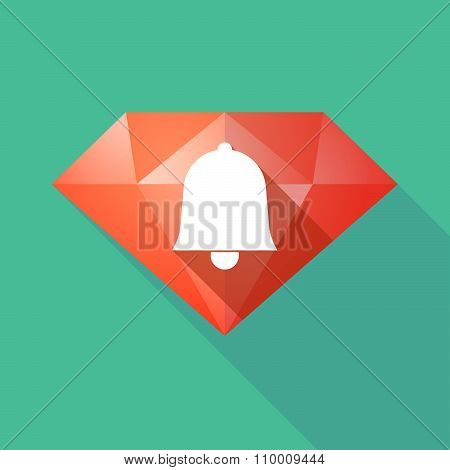 Long Shadow Diamond Icon With A Bell