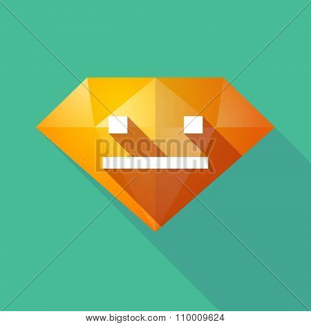 Long Shadow Diamond Icon With A Emotionless Text Face