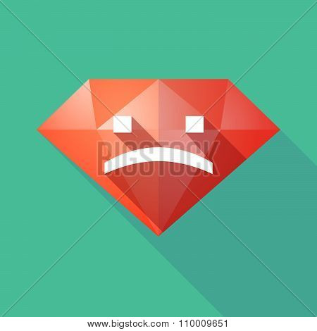 Long Shadow Diamond Icon With A Sad Text Face