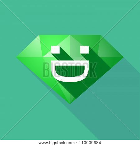Long Shadow Diamond Icon With A Laughing Text Face