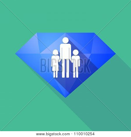 Long Shadow Diamond Icon With A Male Single Parent Family Pictogram