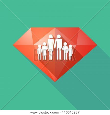 Long Shadow Diamond Icon With A Large Family  Pictogram