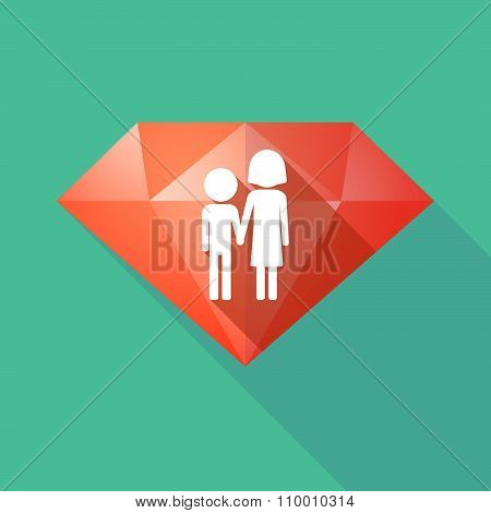 Long Shadow Diamond Icon With A Childhood Pictogram