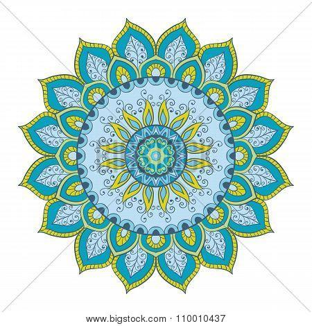 Mandala. Hand-drawn Highly Detailed Round Elements.