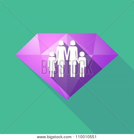 Long Shadow Diamond Icon With A Lesbian Parents Family Pictogram