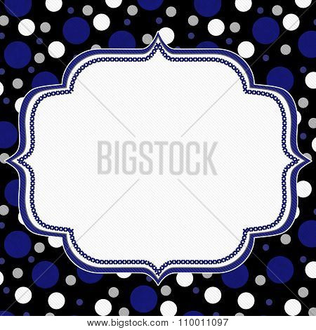 Blue, White And Black Polka Dot Frame Background