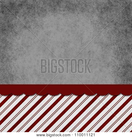 Gray, Red And White Striped Candy Cane Striped Grunge Background