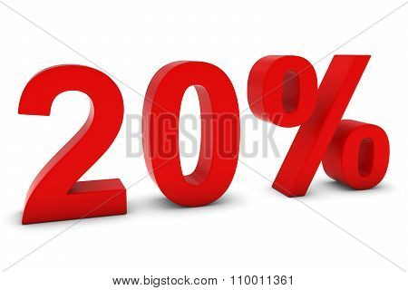 20% - Twenty Percent Red 3D Text Isolated On White
