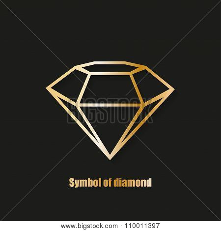 Diamond Simbol Logo With Shadow Black Background