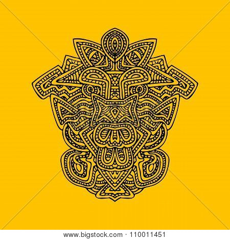 Aztec Mask Monochrome Hand Drawn Illustration.