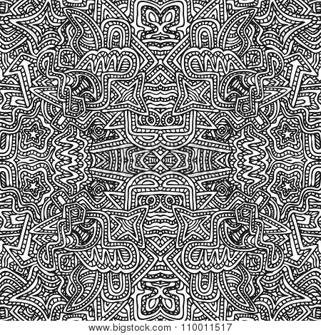 Monochrome Hand Drawn Seamless Pattern Illustration.