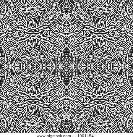 Monochrome Hand Drawn Seamless Pattern Illustration.