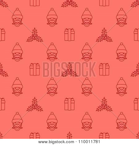 Outline New Year Seamless Pattern.