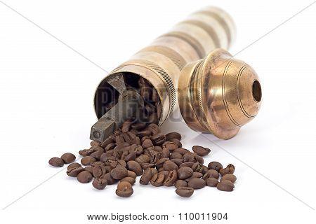 Old brass manual coffee mill