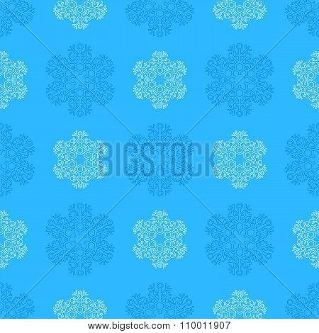 Outline Snowflakes Seamless Pattern.