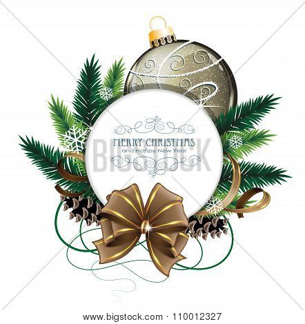Christmas Card With Brown Bauble