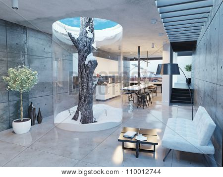 eco design of the modern house interior. Pine tree indoor. 3d concept