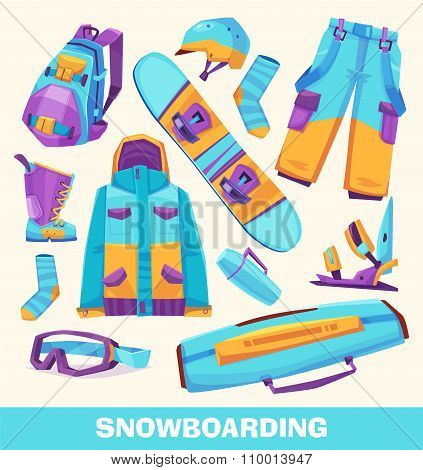 Vector snowboarding elements, clothes and tools  isolated on white background.