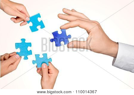 Teamwork Cooperation Jigsaw Piece Puzzle Conformity Business Part Of poster