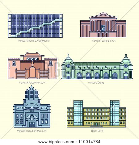 Monuments thin line vector icons.