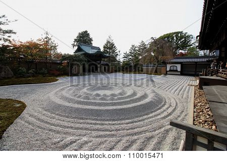 Kyoto , Japan November 21, 2015:A karesansui is in Kyoto This dry landscape is in the Kyoto temple. A karesansui is one of the styles of the Japanese garden.
