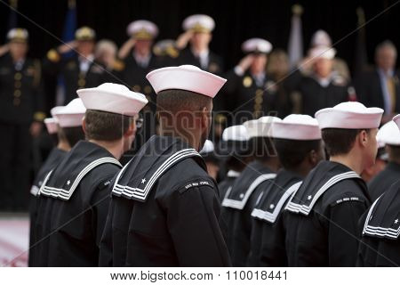 NEW YORK - NOV 25 2015: U.S. Navy sailors march past the VIP viewing stage during the annual Americas Parade up 5th Avenue on Veterans Day in Manhattan.