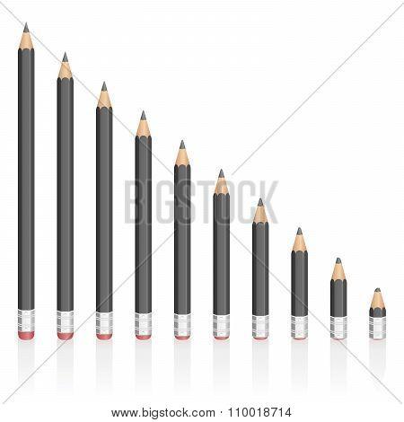 Graphite Pencils Reduction Different Sizes