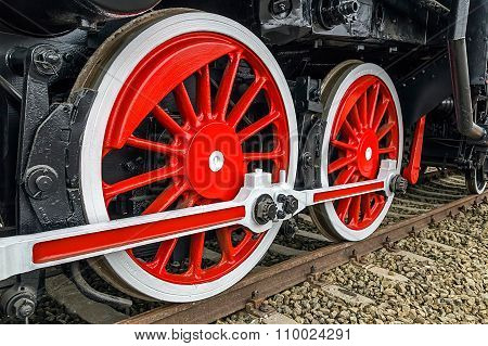Detail And Close Up Of Huge Wheels At One Old German Steam Locomotive 12
