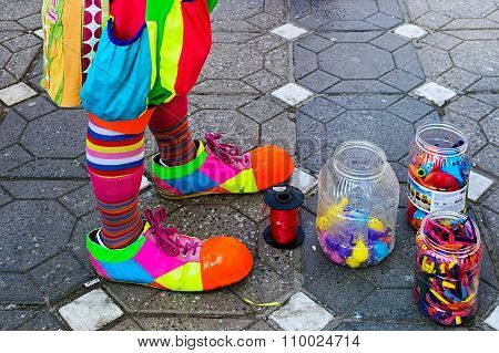 Clown And Jars With Colorful Balloons
