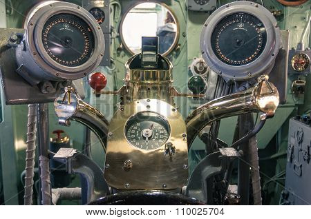 New York City - November 23, 2013: Control Panel In The Navy Ship Uss Intrepid