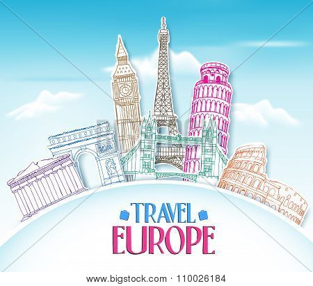 Colorful Travel Europe Hand Drawing in paper Cut with Famous Landmarks