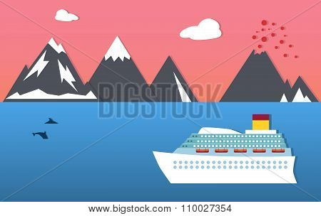 Passenger ship, dolphins and mountains