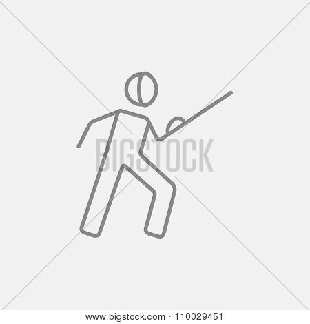 Fencing line icon for web, mobile and infographics. Vector dark grey icon isolated on light grey background.