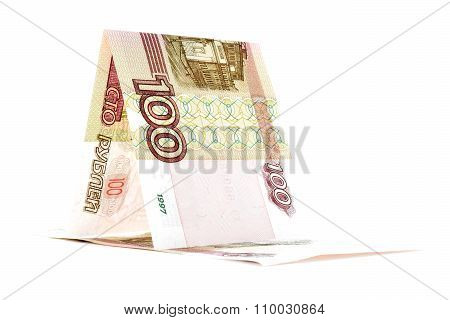 Russian Money Ruble Hut, Rouble Kennel Isolated On White Background