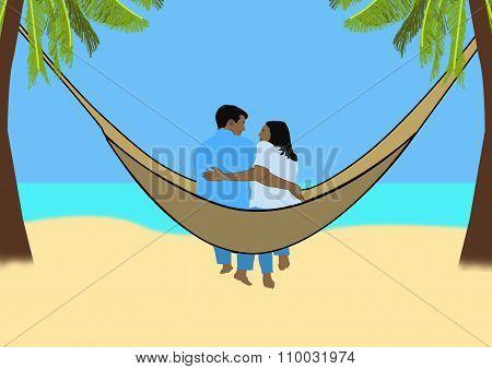 Couple In A Hammock On A Tropical Beach