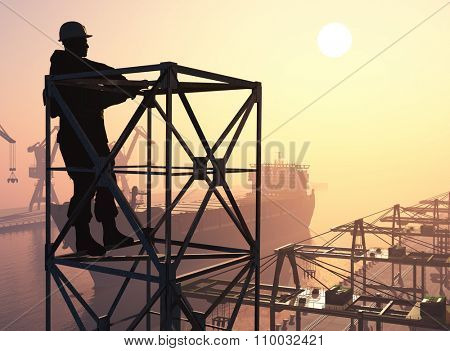 Silhouette of a worker in the port.