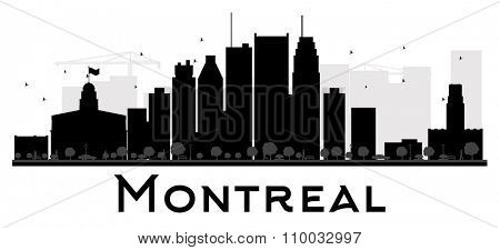 Montreal City skyline black and white silhouette. Vector illustration. Simple flat concept for tourism presentation, banner, placard or web site. Business travel concept. Cityscape with landmarks