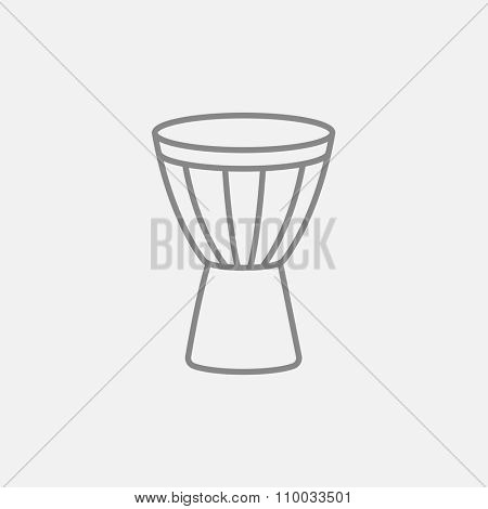 Timpani line icon for web, mobile and infographics. Vector dark grey icon isolated on light grey background.