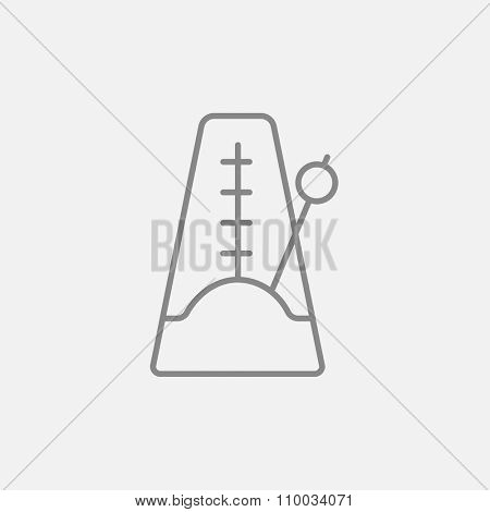 Metronome line icon for web, mobile and infographics. Vector dark grey icon isolated on light grey background.