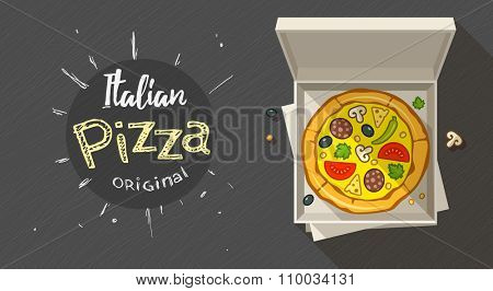 Box with italian pizza. vector illustration. Transparent objects used for lights and shadows drawing.