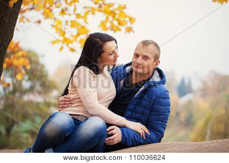 Young Sweet Couple Together Having Date, Autumn