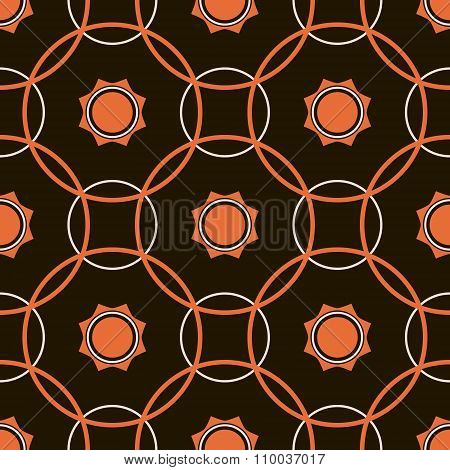 Abstract Seamless Pattern Of Intersecting Hoops And Geometric Suns