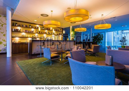 hotel bar lounge with big lights an illumination in 50s style
