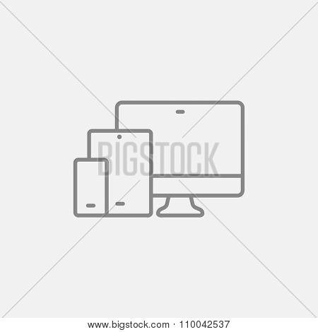 Responsive web design line icon for web, mobile and infographics. Vector dark grey icon isolated on light grey background.