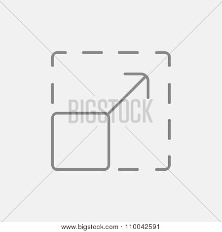 Scalability line icon for web, mobile and infographics. Vector dark grey icon isolated on light grey background.