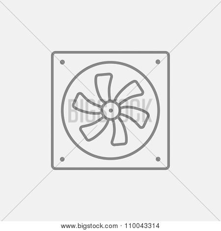 Computer cooler line icon for web, mobile and infographics. Vector dark grey icon isolated on light grey background.