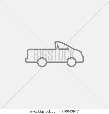 Pick up truck line icon for web, mobile and infographics. Vector dark grey icon isolated on light grey background.