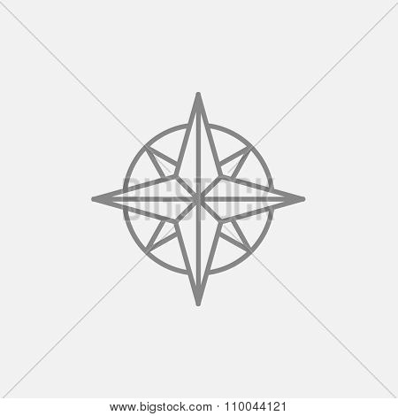 Compass wind rose line icon for web, mobile and infographics. Vector dark grey icon isolated on light grey background.