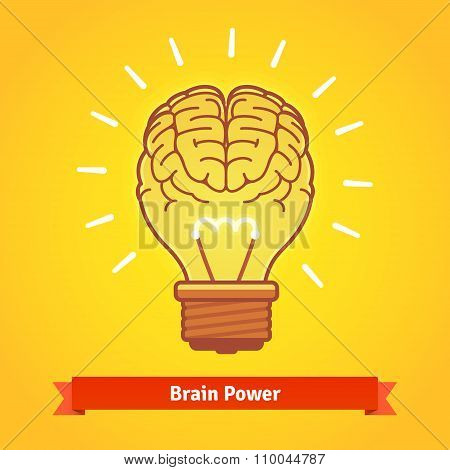 Brain lights up with powerful idea like a bulb
