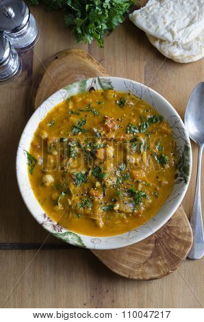Moroccan chicken soup with chickpeas sultanas and spices